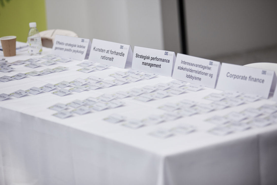 Baggrundsbillede med navneskilte til forskellige kurser på CBS Executive, Frederiksberg